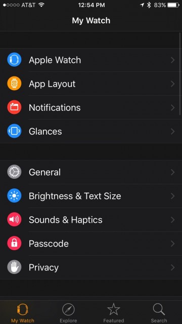 Apple Watch settings screen