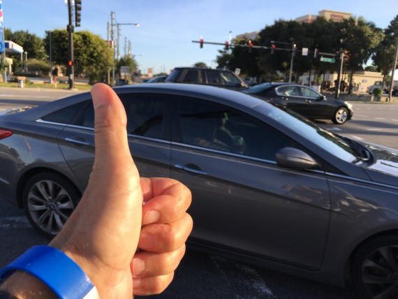 Thumbs up at busy Disney intersection
