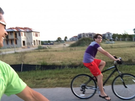 father and son bike ride