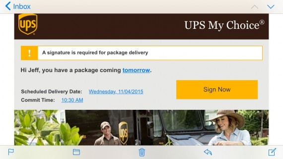 UPS package tracking email screenshot