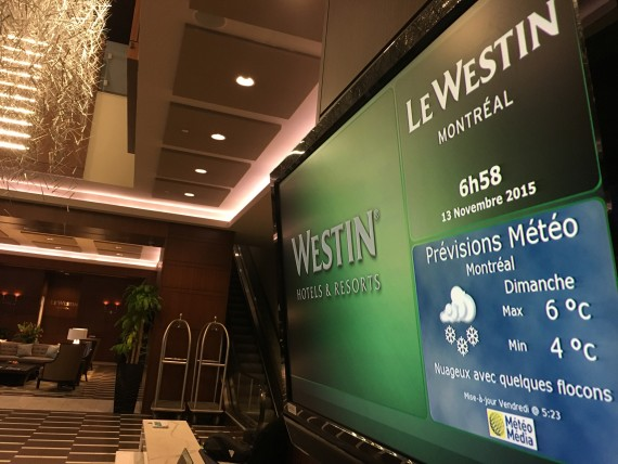 Le Westin Montreal lobby sign
