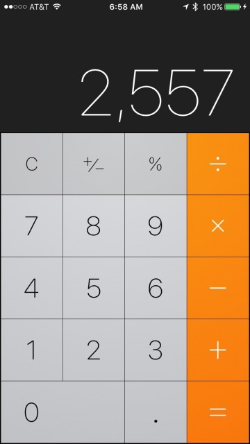 iPhone calculator app screen shot