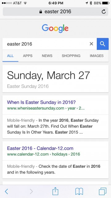 Google search screen shot for Easter 2016