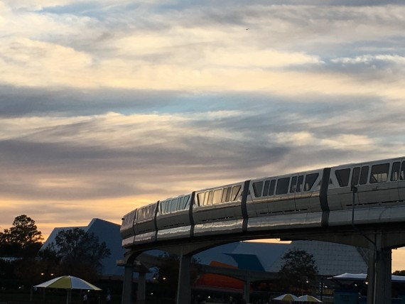 Sunset at Epcot with Monorail