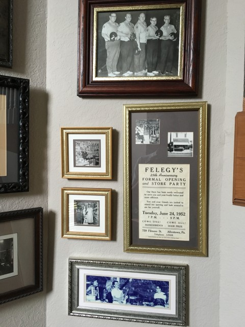 Family history photos on wall