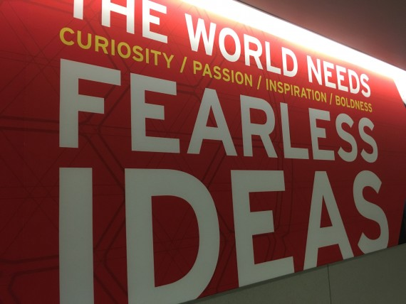 Airport sign about being fearless