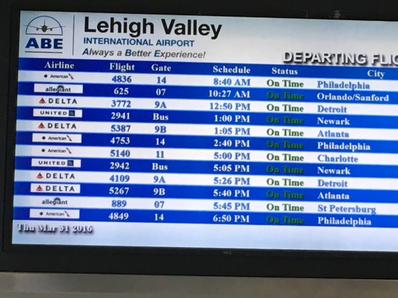 Lehigh Valley Airport departures sign