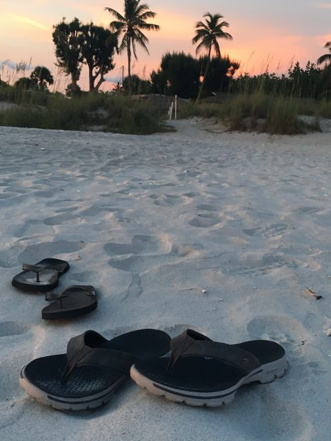 Flip flops on Sanibel Island beach